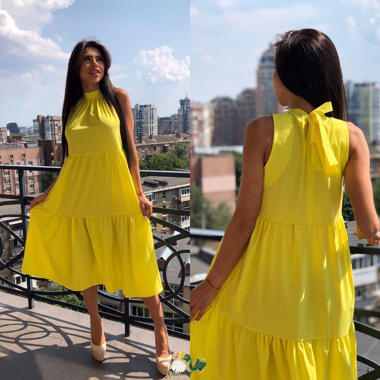 Летнее свободное платье под горло с оборками без рукава  vN4943