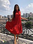 Летнее свободное платье под горло с оборками без рукава  vN4943, фото 2