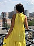 Летнее свободное платье под горло с оборками без рукава  vN4943, фото 3