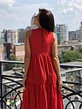 Летнее свободное платье под горло с оборками без рукава  vN4943, фото 4