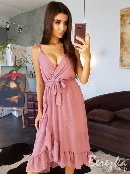 Платье на запах с воланами из сетки на подкладе без рукава vN4972