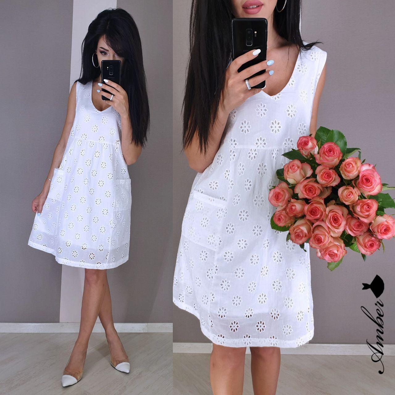 Легкое батистовое платье - трапеция без рукава на подкладе vN5002
