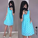 Легкое батистовое платье - трапеция без рукава на подкладе vN5002, фото 2