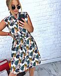 Летнее платье - рубашка в принт без рукава vN5003, фото 2