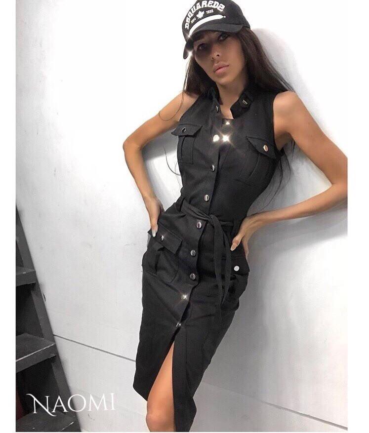 Облегающее джинсовое платье - рубашка на пуговицах спереди без рукава vN5027