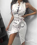Облегающее джинсовое платье - рубашка на пуговицах спереди без рукава vN5027, фото 2