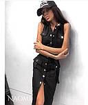 Облегающее джинсовое платье - рубашка на пуговицах спереди без рукава vN5027, фото 3