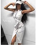Облегающее джинсовое платье - рубашка на пуговицах спереди без рукава vN5027, фото 4