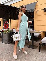 Длинное прямое платье из софта под пояс без рукава и с разрезом vN5029