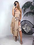 Шифоновое ассиметричное платье в цветочный принт со свободной юбкой миди vN5034, фото 2