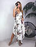 Шифоновое ассиметричное платье в цветочный принт со свободной юбкой миди vN5034, фото 3