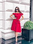 Льняное платье с пышной юбкой, рюшей и открытыми плечами vN5038, фото 3