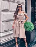 Льняное платье с пышной юбкой, рюшей и открытыми плечами vN5038, фото 4