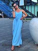 Длинное прямое платье - майка под пояс на бретельках vN5161