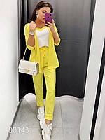 Оригинальный брючный костюм женский, 00143 (Желтый), Размер 44 (M)