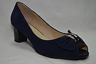 Синие замшевые туфли Erisses на среднем каблуке с открытым носиком. Большие размеры.