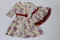 Платья на маму и доченьку с красным поясом и рукавами №33