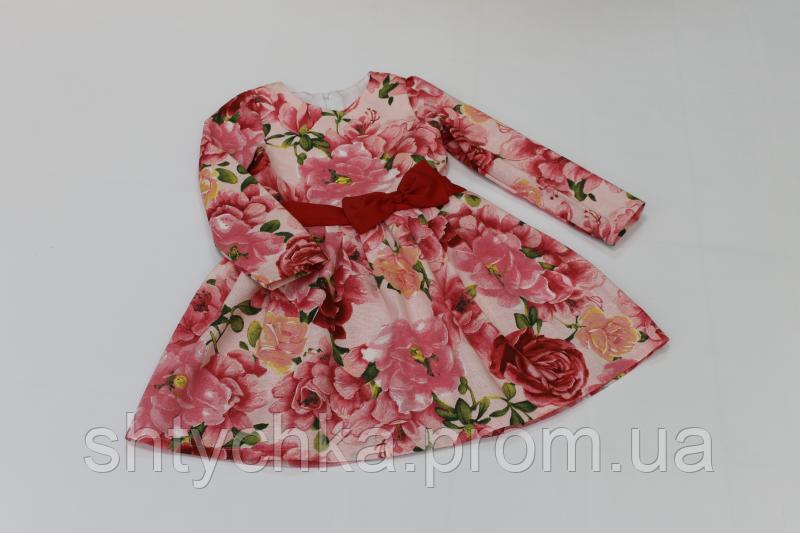 Повседневно - нарядное платье на девочку с рукавами № 38