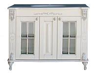 Тумба Атолл Александрия 100 (слоновая кость, серебро) фасад классика, столешница мрамор, 1075х590х850 мм