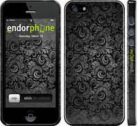 """Чехол на iPhone 5 Чёрно-серые листья """"843c-18"""""""
