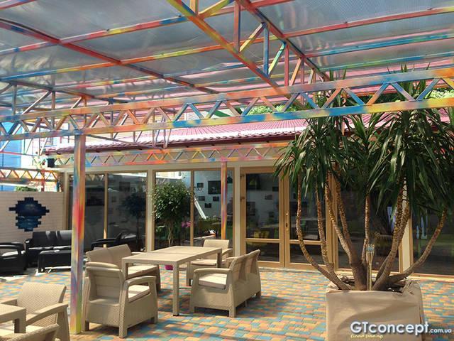 Навес над летней площадкой ресторана 1