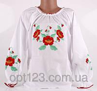 Нарядная детская сорочка вышиванка маленькие маки с длинным рукавом