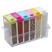 🔝 Набор контейнеров для специй Seasoning six-piec set, 6 шт., спецовницы для приправ | 🎁%🚚