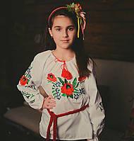 Нарядная сорочка вышиванка для девочки Волошки