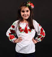 Украинская сорочка вышиванка  с маками для девочки Лариса