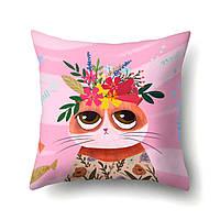 Наволочка декоративная Кошка с цветами 45 х 45 см Berni
