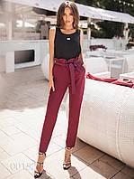 Стильные брюки молодежные для девушек, 00152 (Бордовый), Размер 42 (S)