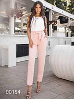 Женские брюки с завышенной талией с поясом, 00154 (Персиковый), Размер 48 (XL)