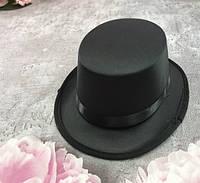 Шляпа цилиндр Малышка на резинке черная детская