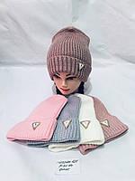 Шапка для девочки Одесса опт р. 52-54 вязка на флисовой подкладке