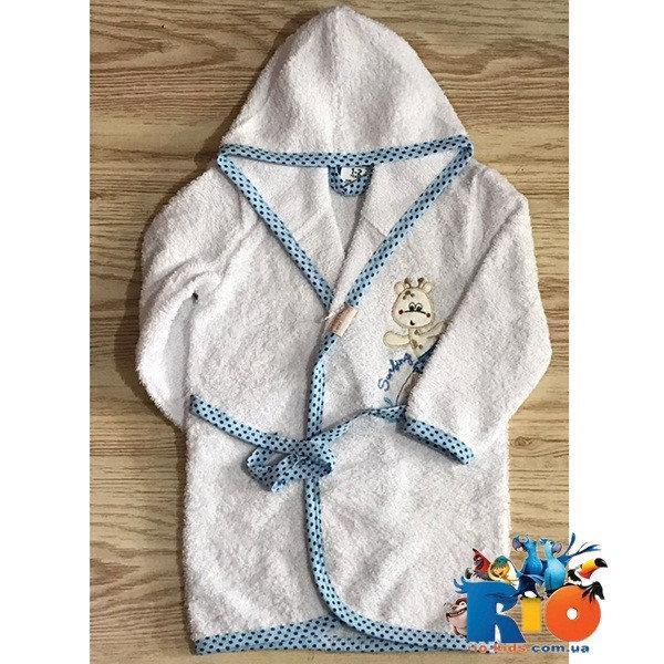 Детский халат, махра (90% cotton, 10% micropoly), размер 1-2, 2-3, 3-4 года (3 ед в уп)