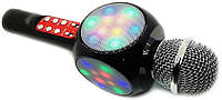 Беспроводной караоке микрофон WS1816 со цветомузыкой и чехлом - Черный