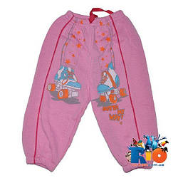 Спортивные штаны, трикотаж на флисе, для девочки 1-2-3 года Розовый