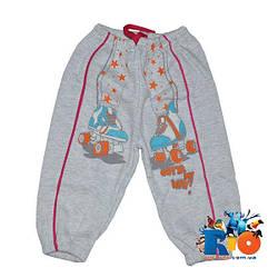 Спортивные штаны, трикотаж на флисе, для девочки 1-2-3 года Серый