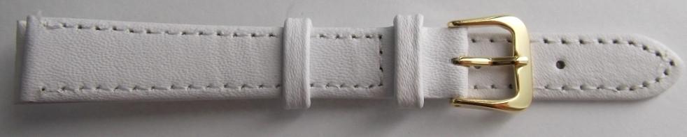 Ремешок кожаный LUX-PL (Польша) 14 мм, белый