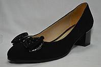 Туфли черные замшевые Erisses на среднем каблуке с бантиком, большие размеры