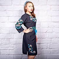 """Платье с вышивкой """"Полевые цветы"""" на синем фоне"""