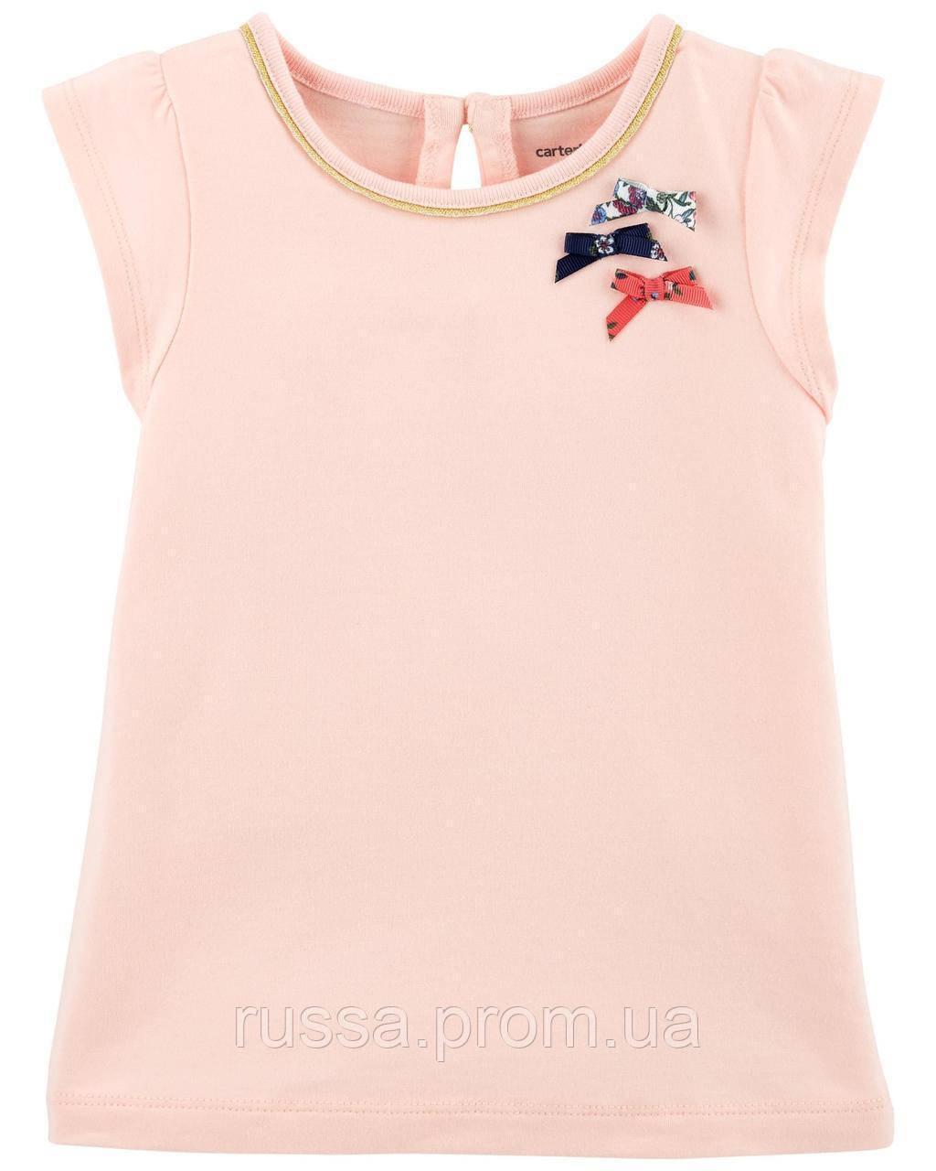 Детская розовая футболка Бантики Картерс для девочкии