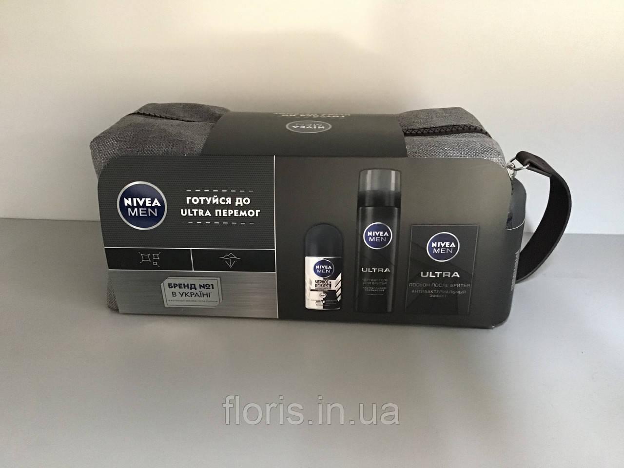 Nivea Men Ultra подарунковий набір для чоловіків 3в1 для чутливої шкіри + сумка (набір)