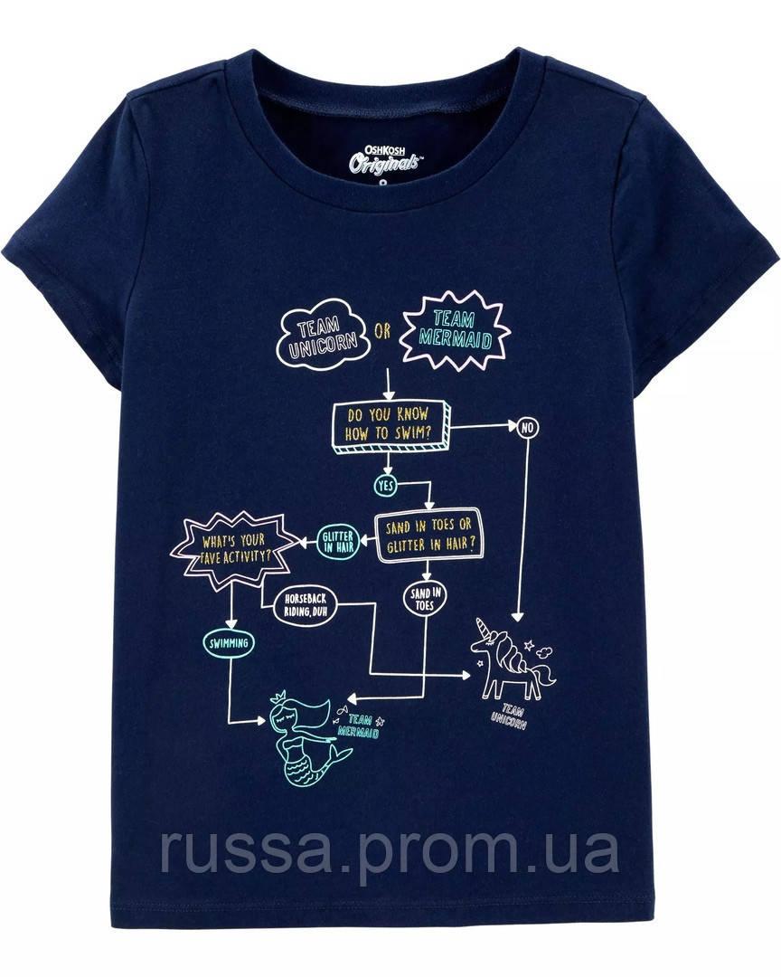 Темно-синяя футболочка с единорогом и русалкой ОшКош для девочки