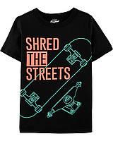 Черная футболка со скейтом ОшКош для мальчика