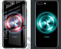 Светящийся чехол на Iphone 7 8 X XS - Капитан Америка от MARVEL