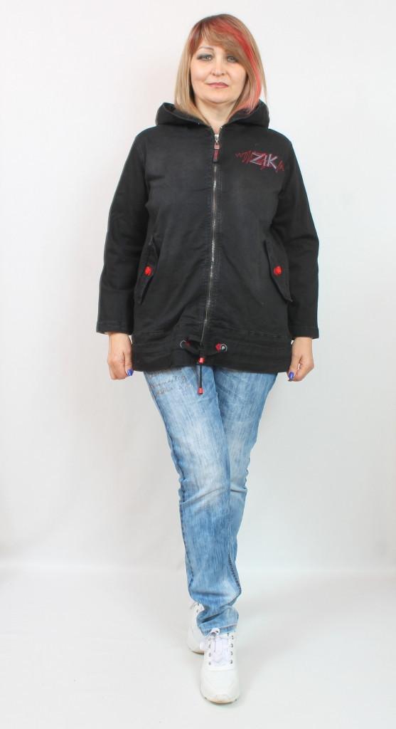 Турецкая женская короткая джинсовая куртка с капюшоном, размеры 50-58