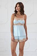 """Пижама женская майка и шорты голубого цвета с кружевом """"Lotus"""" качество premium"""