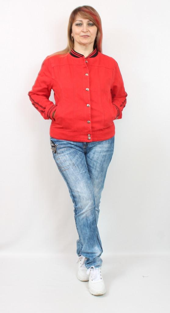 Турецкая женская красная джинсовая куртка - жакет, размеры 50-58