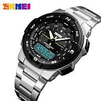 Классические мужские часы Skmei 1370 MARSHAL Silver black / Black  Гарантия!
